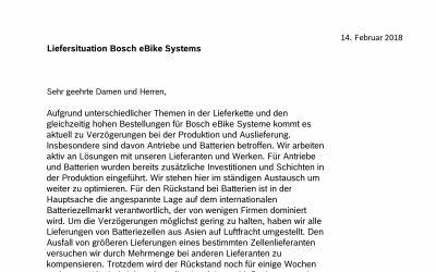 Lieferverzögerung bei Bosch E-Bike-Antrieben